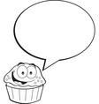 Cartoon cupcake with a caption balloon vector image vector image