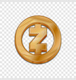 golden zcash coin trendy 3d style icon vector image