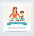 mother reading a book to her smiling son happy vector image