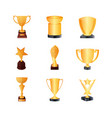 set of kind bronze trophies bronze bowls vector image