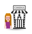 girl cartoon and ticket office icon cinema graphic vector image