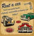 Rent a car retro poster vector image
