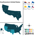 Map of Southwestern United States vector image vector image