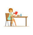beautiful young woman character reading bok while vector image