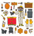 honey sweet apiary farm beekeeping icons vector image