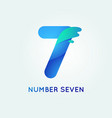 number seven in trend shape style vector image