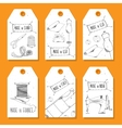 Printable tags in a retro style Hand-drawn Sewing vector image