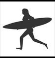 running surfer woman with surfboard vector image