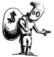Robber in a mask and with money bag vector image vector image