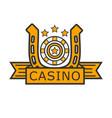 casino poker gambler roulette and golden horseshoe vector image
