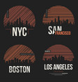set of t-shirt designs with us cities silhouettes vector image vector image
