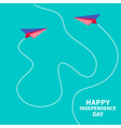 Two paper planes dash line independence day vector image