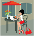 young woman with the laptop in cafe vector image