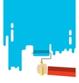 Mens hand holds a paint roller vector image