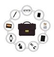Business handbag contents vector image