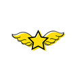 color star with wings rock symbol art vector image