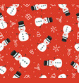 merry christmas cute snowman seamless pattern vector image