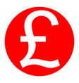turkish lira sign  white icon in red vector image