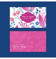 pink flowers horizontal frame pattern business vector image