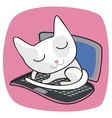 Cute Cat On Laptop vector image vector image