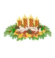 Christmas decoration Advent wreath with pine cones vector image