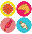 color icons with sweets vector image