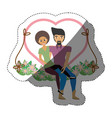 couple love together in swing shadow vector image
