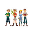 farmers harvesting crop cartoon vector image