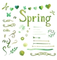 Set of watercolor spring elements vector image