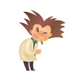 Evil mad professor with raised eyebrow in lab coat vector image