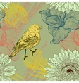 Seamless background with handdrawn birds and vector image vector image