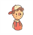 Bored Boy In Cap And College Jacket Hand Drawn vector image