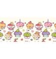 Birthday muffins horizontal seamless pattern vector image vector image