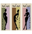 Fashion models in sketch style labels vector image
