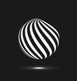 abstract sphere icon design with twirl line vector image