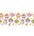 Birthday muffins horizontal seamless pattern vector image