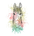 Black and white animal horse head watercolor vector image