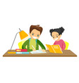 caucasian white brother and sister doing homework vector image