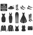 Female Clothing Icons vector image