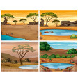 four savanna scenes at different times of day vector image