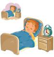 little baby sleeping in his bed vector image