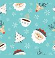 merry christmas santa deer winter seamless pattern vector image