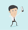 Selfie cartoon taking self portrait photo with vector image