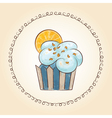 watercolor cupcake with orange slice vector image