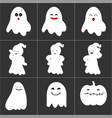 halloween cute ghost icon set vector image