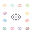 eye flat icons set vector image