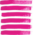 Set of fuchsia color brush strokes vector image