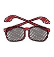 color crayon stripe glasses with red contour vector image