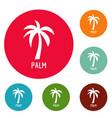 palm tree icons circle set vector image