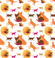 seamless lovely cats pattern2 vector image